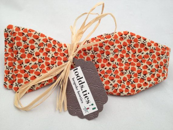 Handmade Bowtie  Orange Bloom by toddsties on Etsy