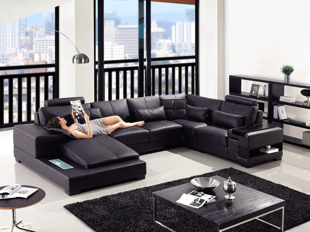 Divani Casa Diamond Modern Black Bonded Leather Sectional Sofa