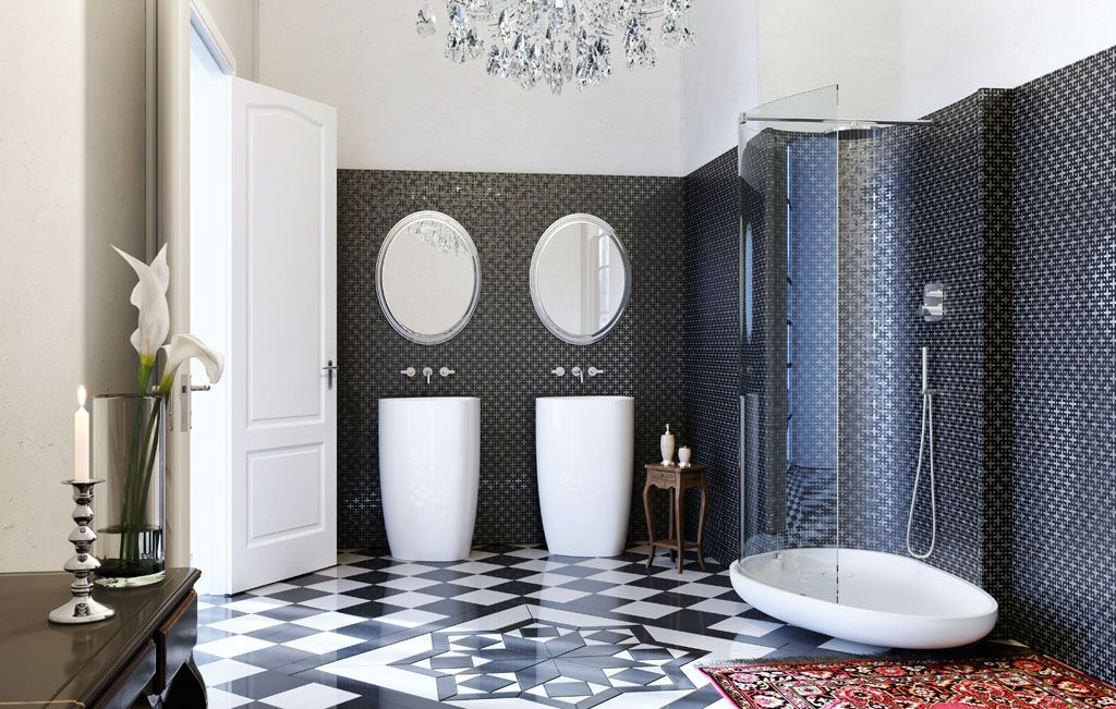 glass idromassagio art deco inspired italian bathroom | bathroom, Hause ideen
