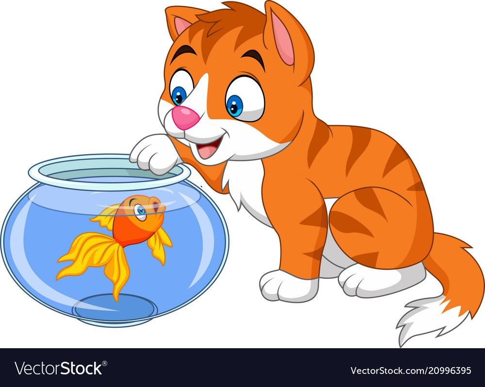Cartoon Little Cat Playing With Gold Fish Vector Image On Vectorstock Cat Playing Fish Vector Cats