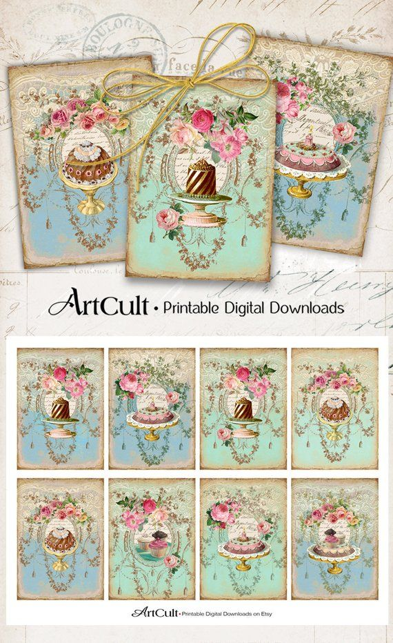 Printable Greeting Cards Victorian Sweets Gift Tags Instant