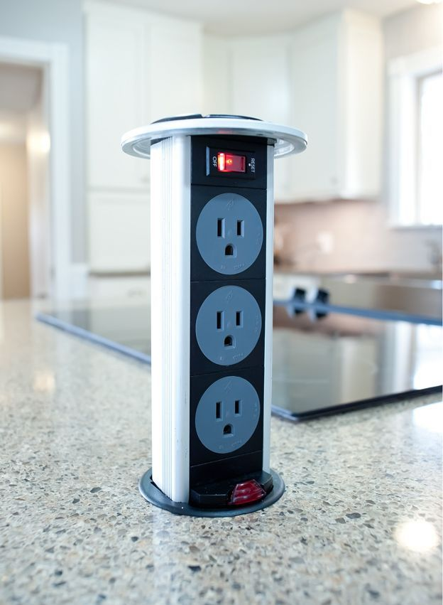 This Pop Up Outlet Is Exactly What I Would Like In Our Island Design!  Quartz Counters, Kitchen Island, Pop Up Outlet.