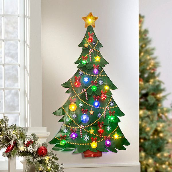 improvements christmas tree illuminated wall art 30 liked on polyvore featuring home home decor holiday decorations christmas decor christmas wall - Lighted Christmas Wall Decorations
