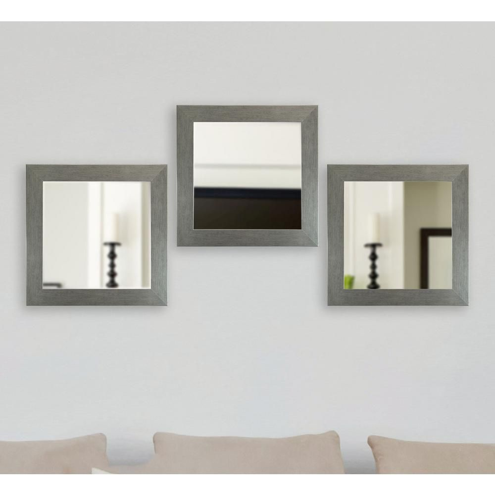 21 5 In X 21 5 In Yukon Silver Square Vanity Mirror Set Of 3 S084ms 3 Lighted Wall Mirror Wall Mirrors Set