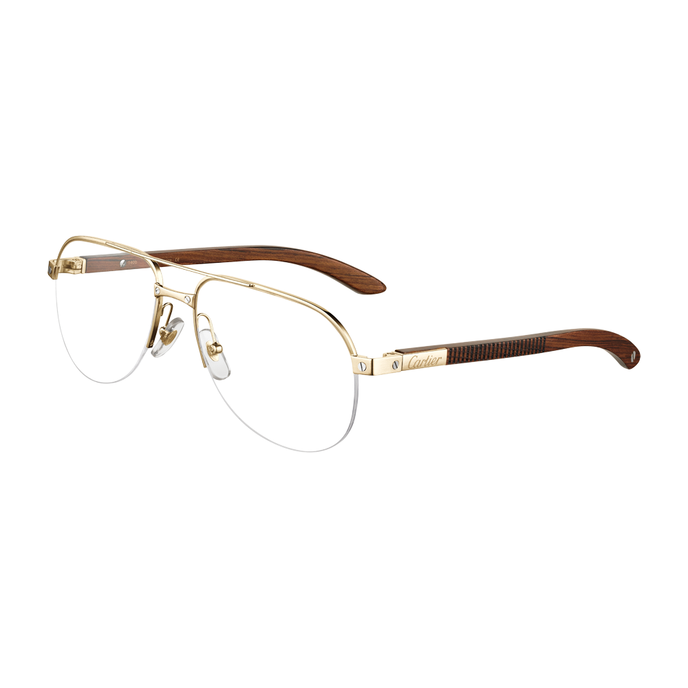 277847c304a15 Santos wood - Golden finish titanium - Fine Prescription glasses for men -  Cartier