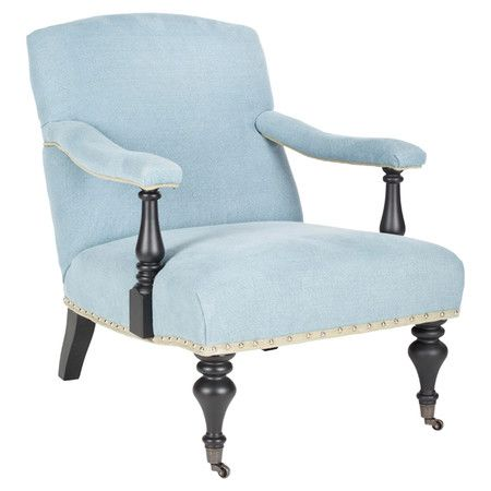 wrapped in light blue upholstery this nailhead trimmed arm chair