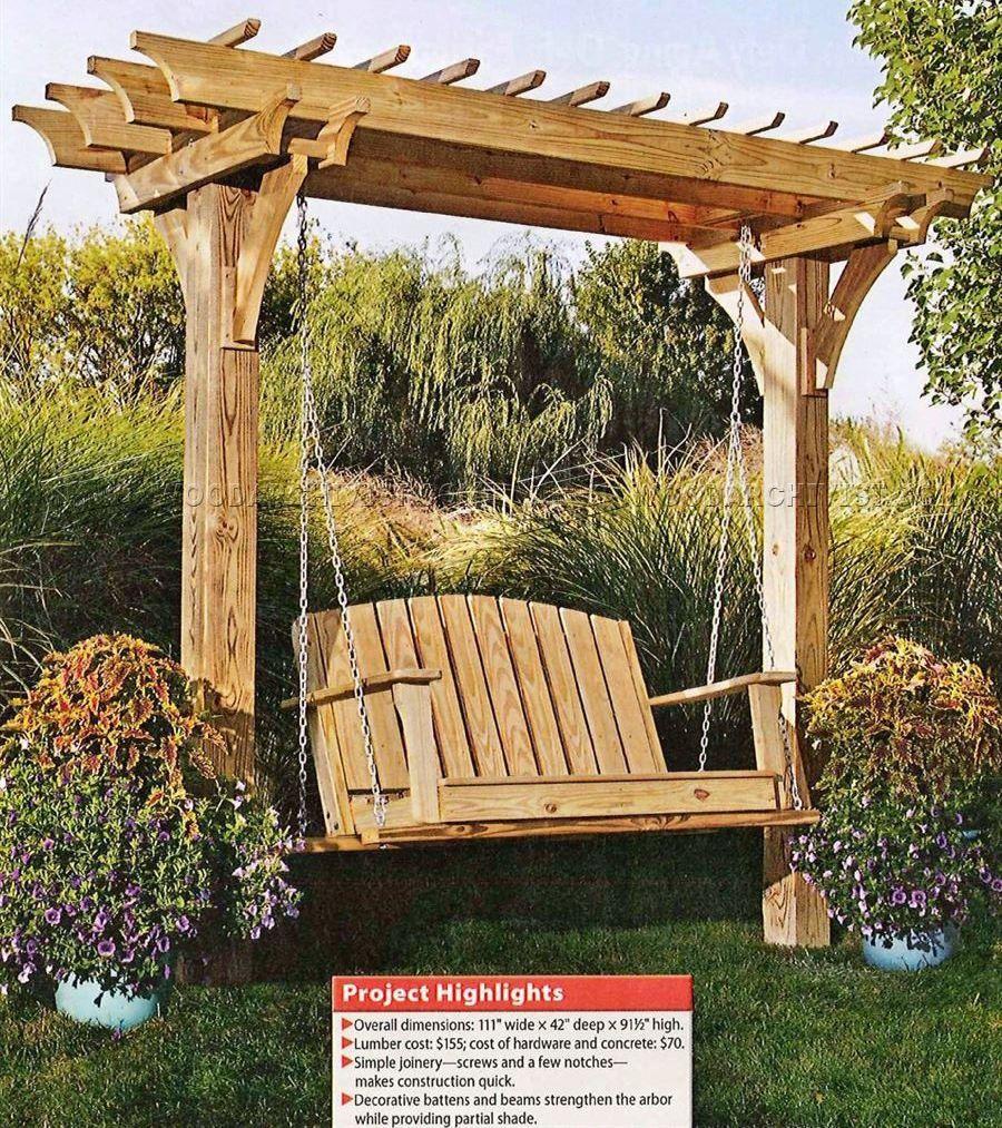 arbor swing plans outdoor furniture plans gardening