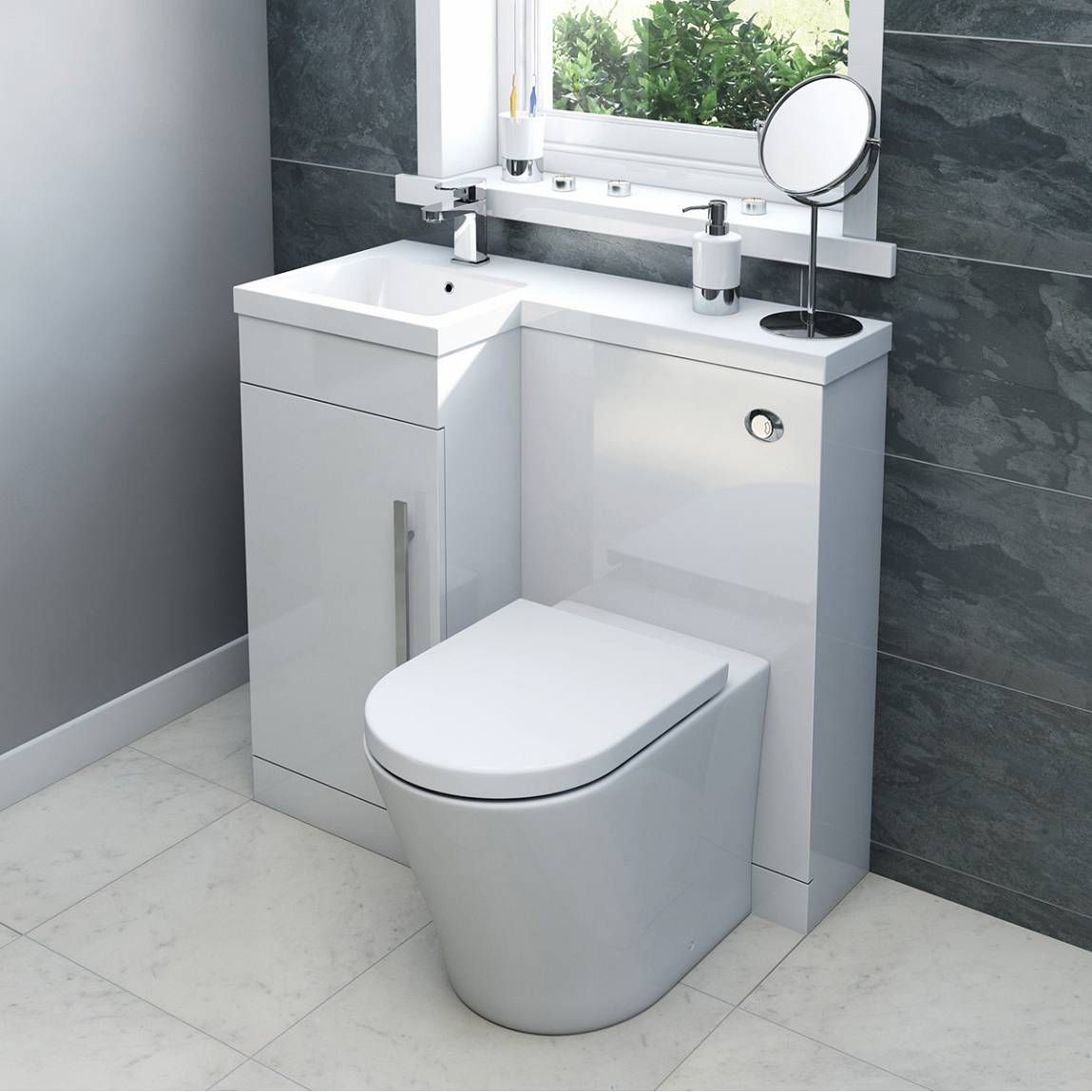 MySpace White Combination Unit with Arc Back to Wall Toilet - https ...