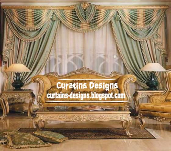 Luxury Italian drapes curtain design in green and gold | Living room ...