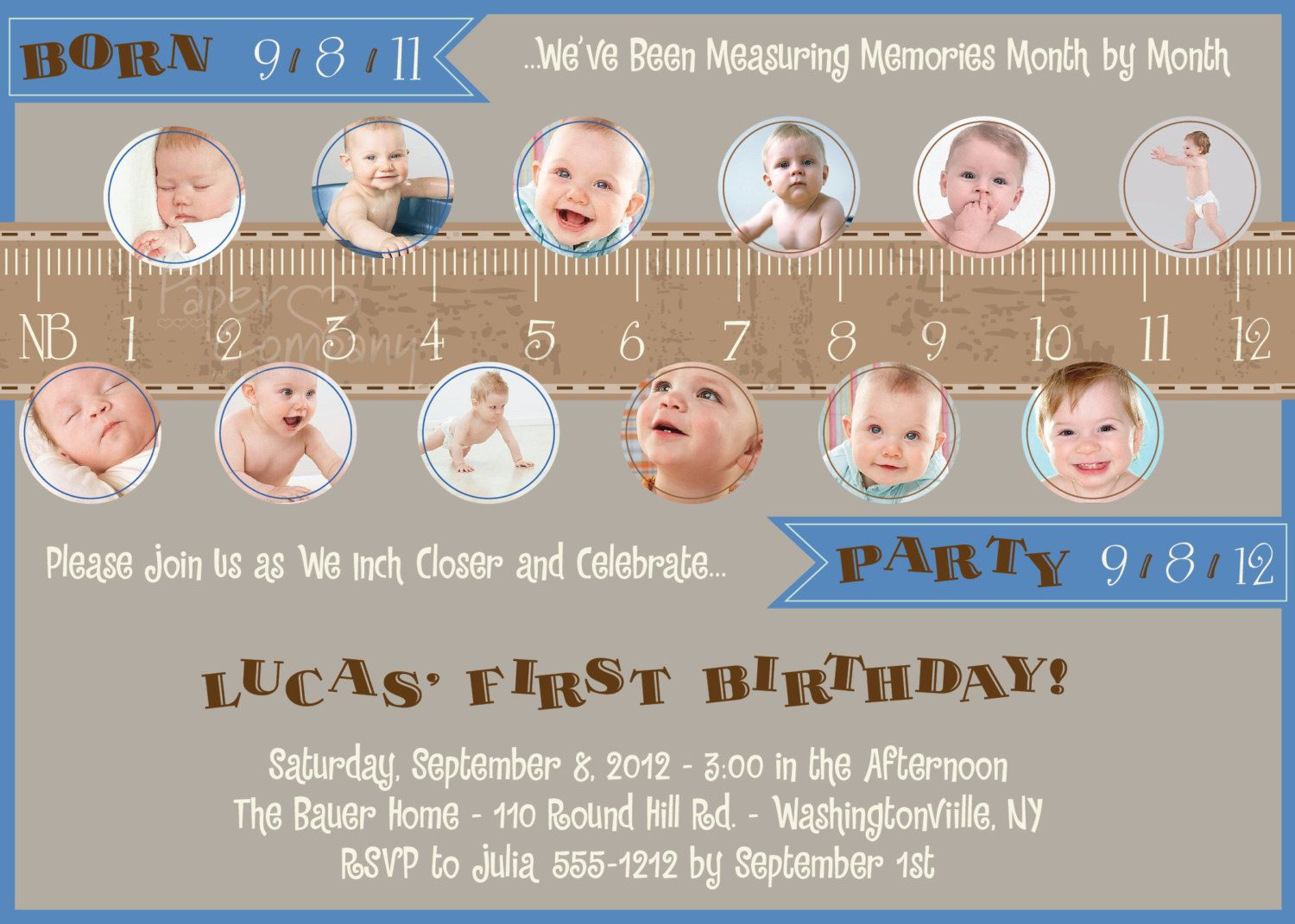 Measure A Year One Year In A Flash First Birthday Party - Birthday invitation for one year baby