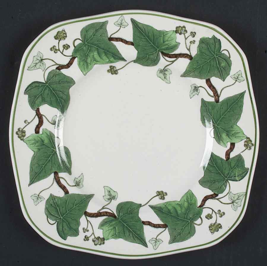 wedgwood napoleon ivy green square luncheon plate 790647 | ebay