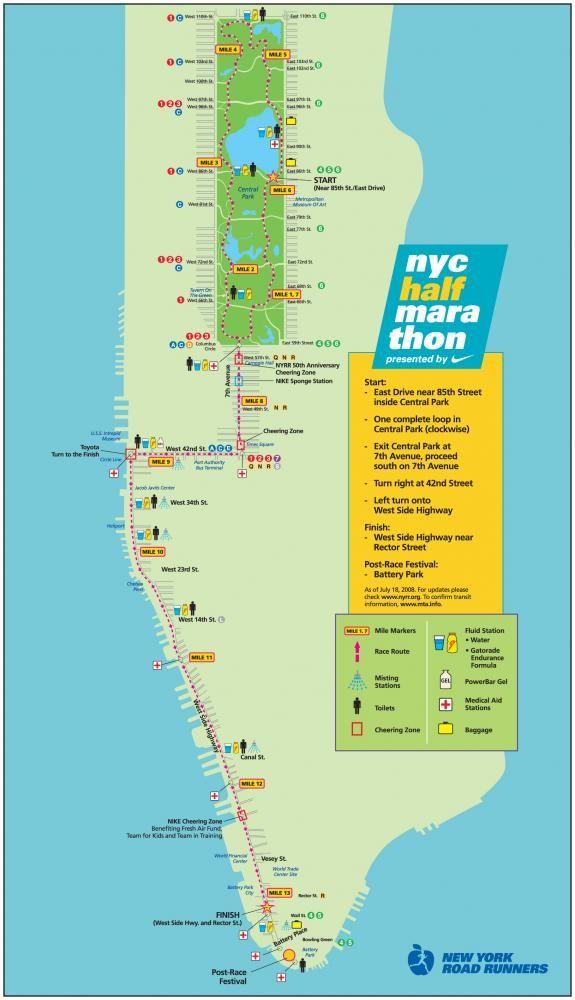 Map Of New York Half Marathon.Nyc Half Marathon Coursemap Races Marathon New York Half