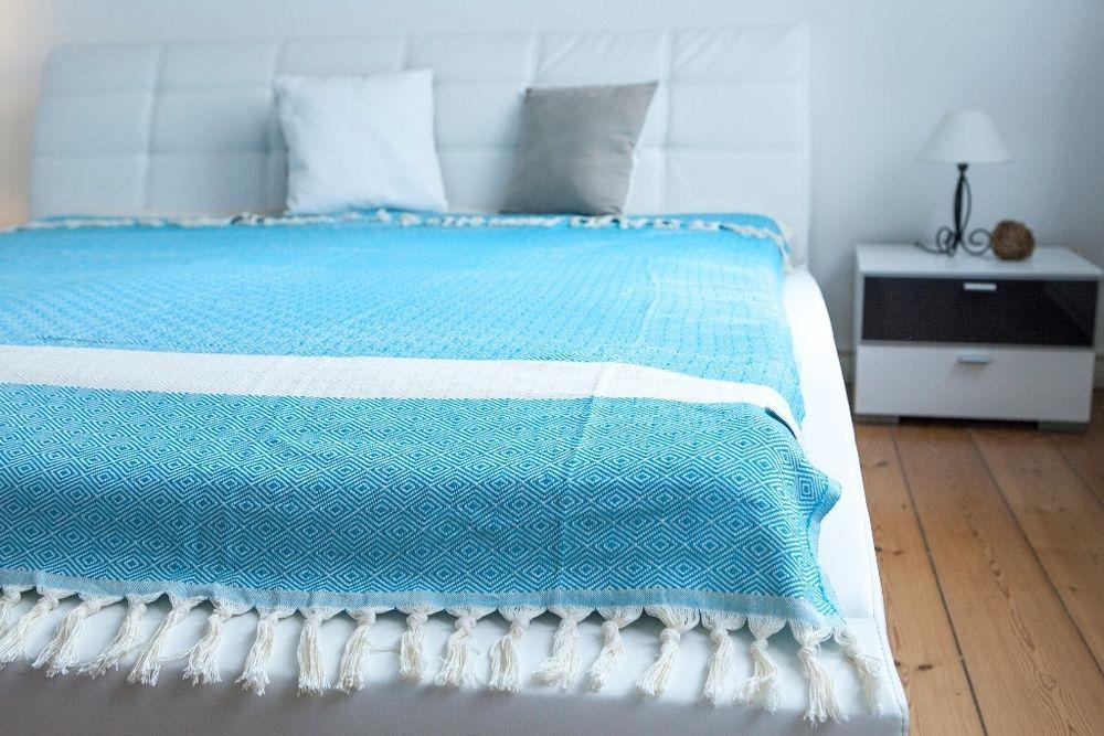 Plaid Tagesdecke Sofa Uberwurf Blanket Kuscheldecke Turkis