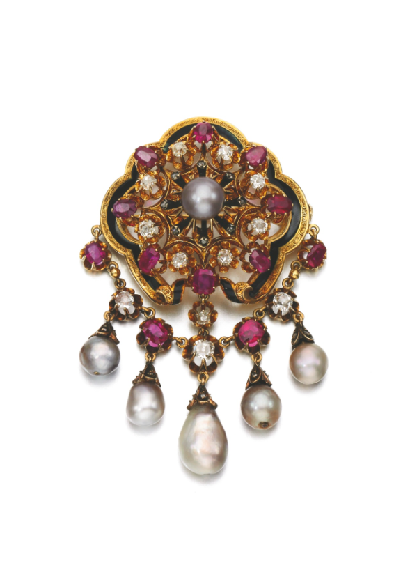 Natural pearl, ruby and diamond brooch, late 19th century