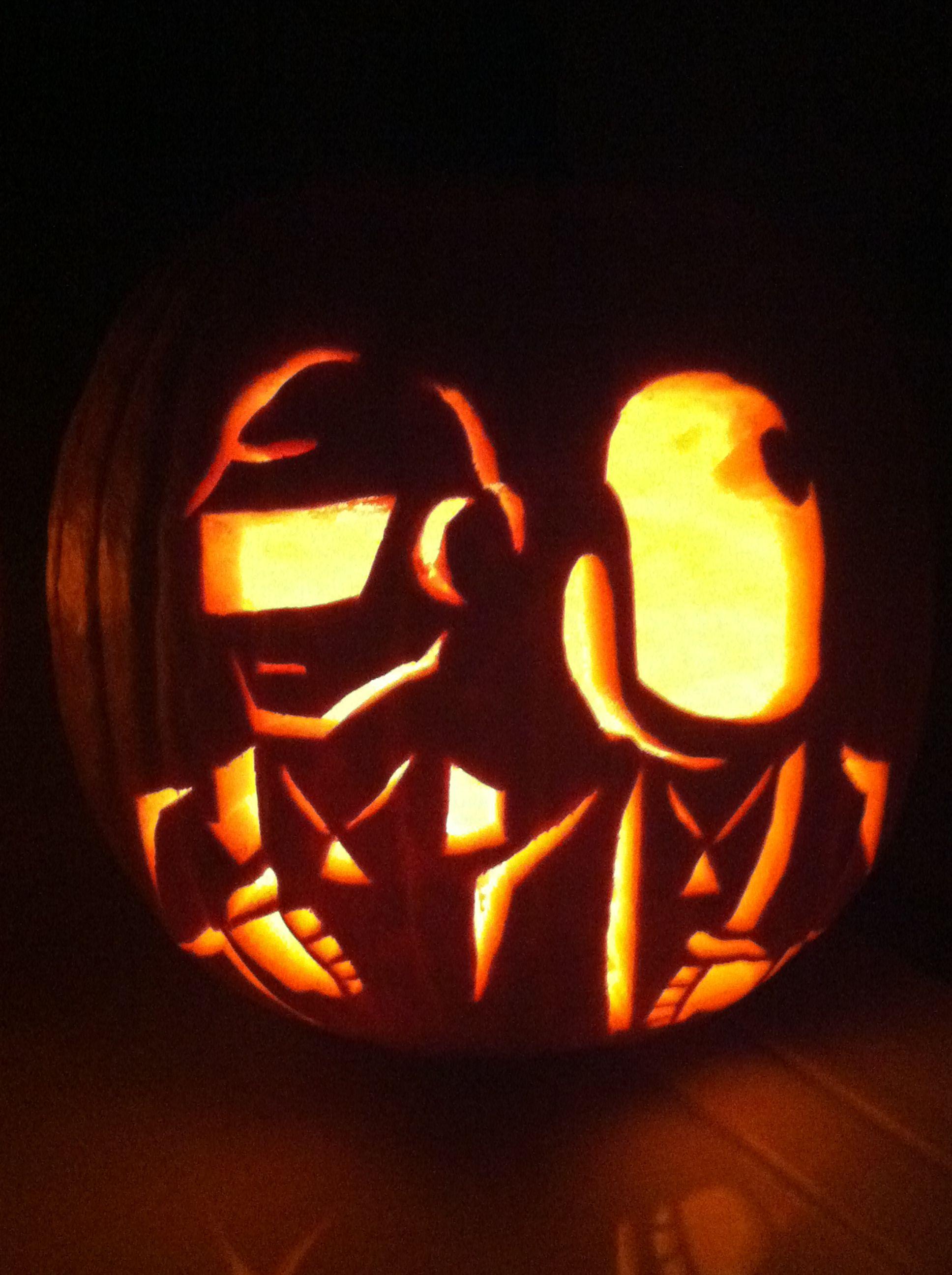 Daft punk pumpkin carved by super scott fall times