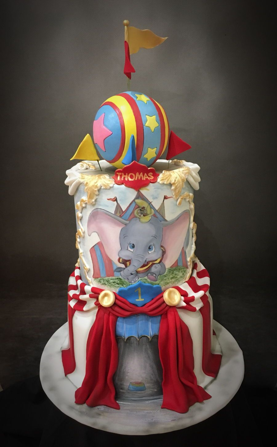 Tremendous Dumbo Circus 1St Birthday Cake Circus 1St Birthdays Disney Birthday Cards Printable Trancafe Filternl
