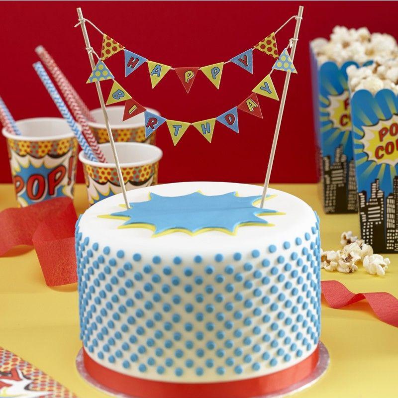 Happy Birthday Cake Bunting Pop Art Superhero Party Cake