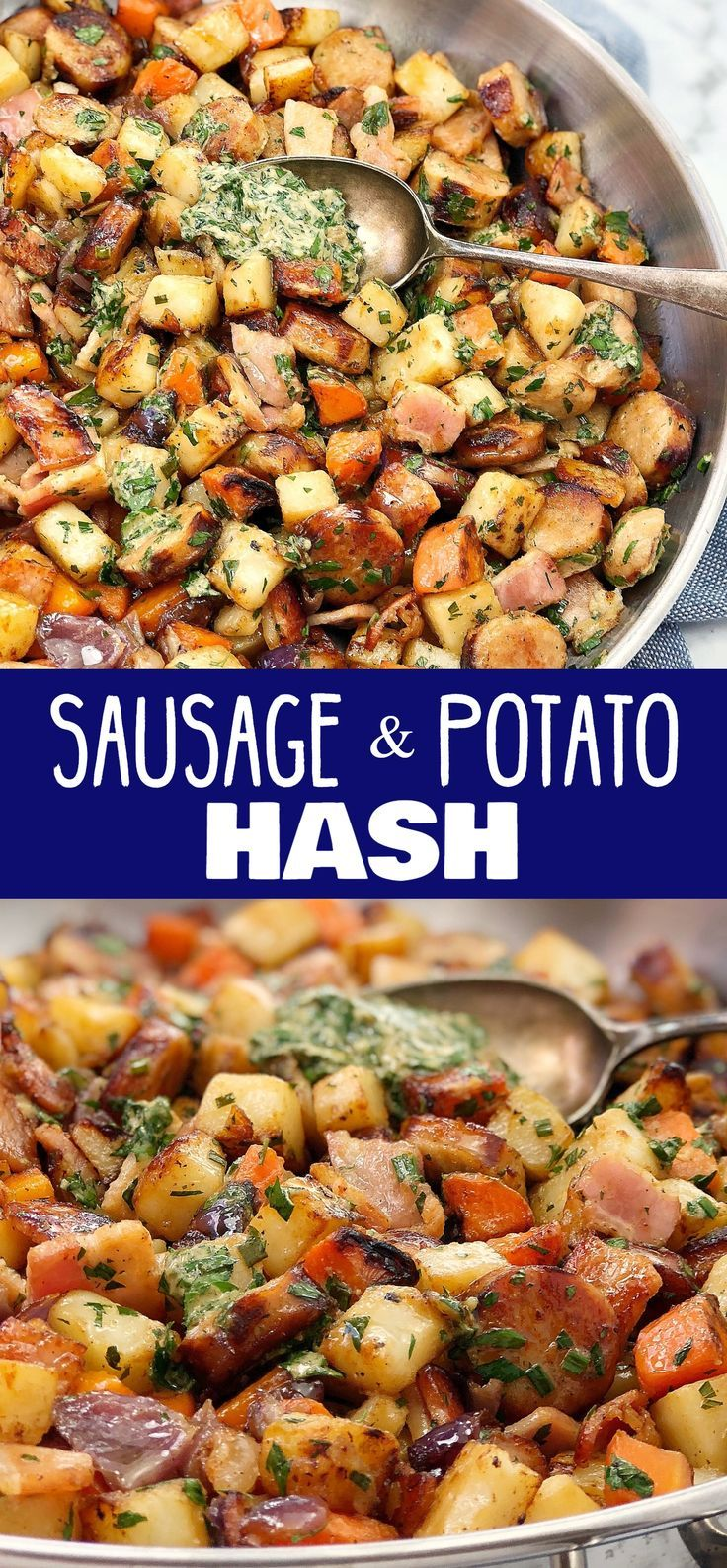 Sausage Potato Hash with Herb Dressing - a sausage hash using leftover cooked sausages with a fresh herb and mustard dressing. Take your sausage hash skillet to the next level, this is the winner of sausage potato hash dinners! #chefnotrequired #potatoes #potatohash #dinnerrecipes #sausagepotatoes