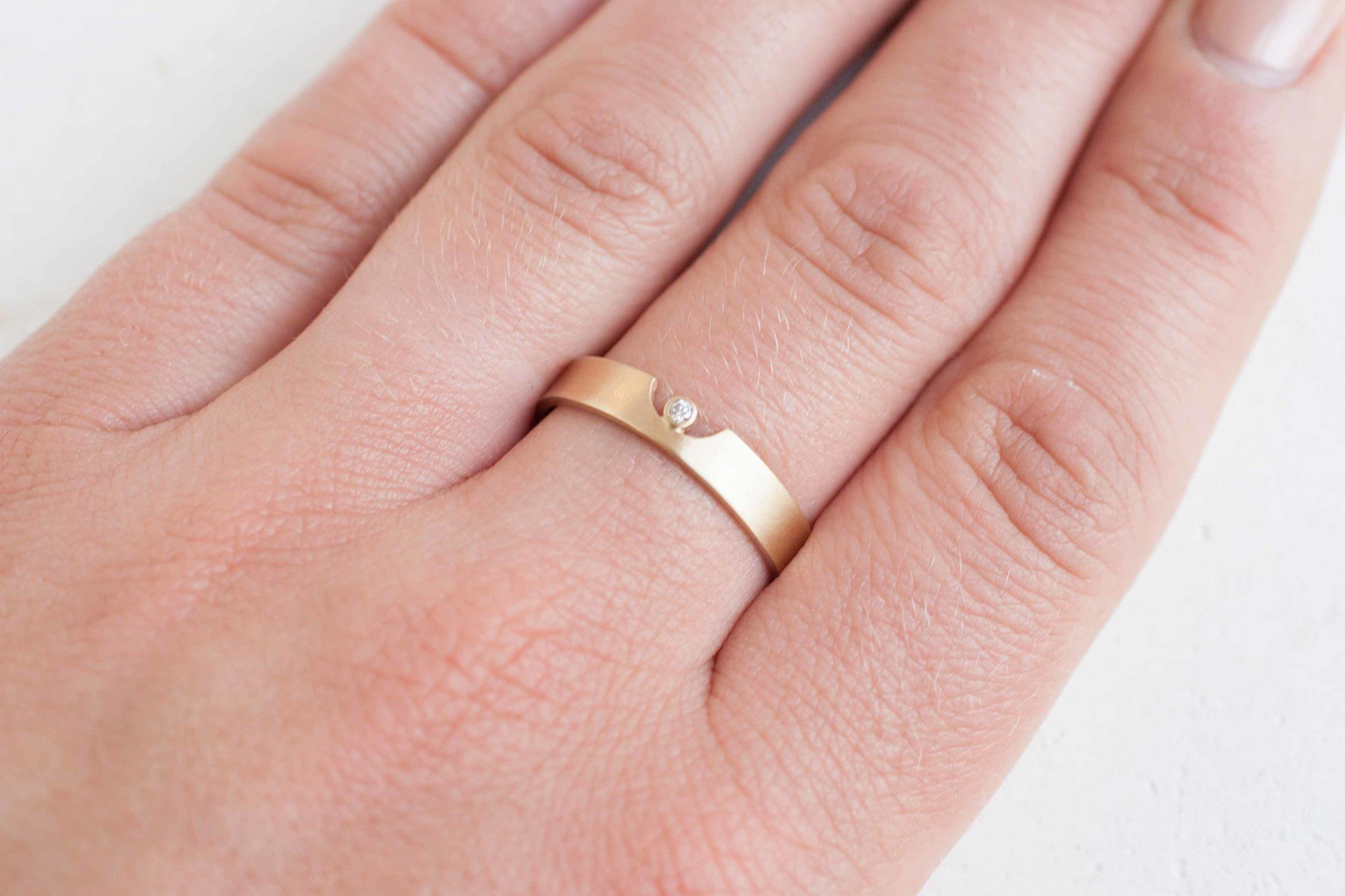 4 x 1 Semicircle Cut Out Ring + Diamond Accent | 14k Recycled Gold ...