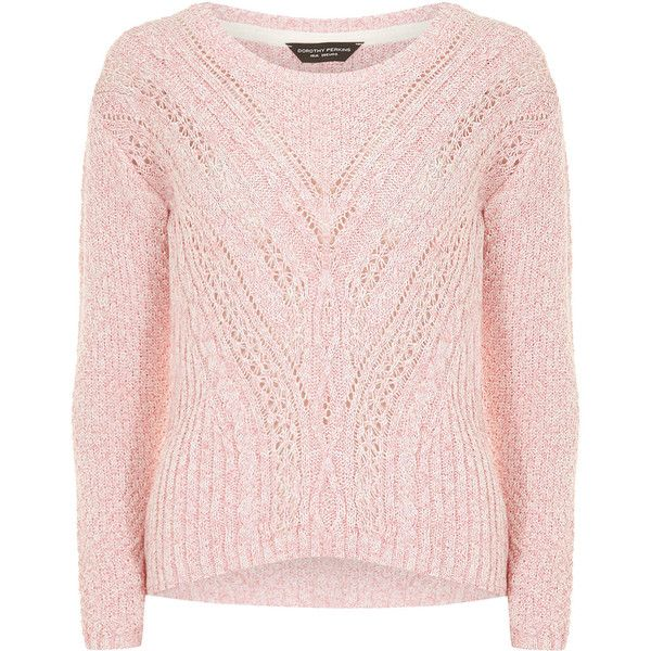 Dorothy Perkins Pink cable v neck jumper ($21) ❤ liked on ...