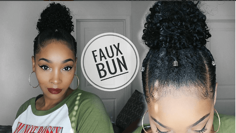Try This Curly Faux Top Knot Bun On Short Natural Hair For A Quick Easy Protective S Natural Hair Styles Short Natural Hair Styles African Natural Hairstyles
