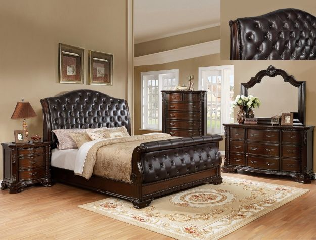 Crown Mark B1100 88 5 Pc Sheffield II Collection Dark Wood Finish Padded  Headboard With Tufted Accents Queen Bedroom Set