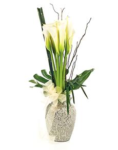 Singapore Flowers Flower Vase 10 Calla Lilies Jarros