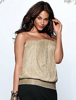 7e295a9b582 Shimmering crinkle tube top can be worn with or without straps to add  gorgeous sparkle to so many looks. Flattering