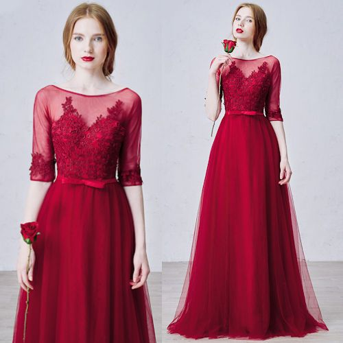 Burgundy Embroidered Lace Half Sleeve Prom Ball Gown Evening Dresses ...