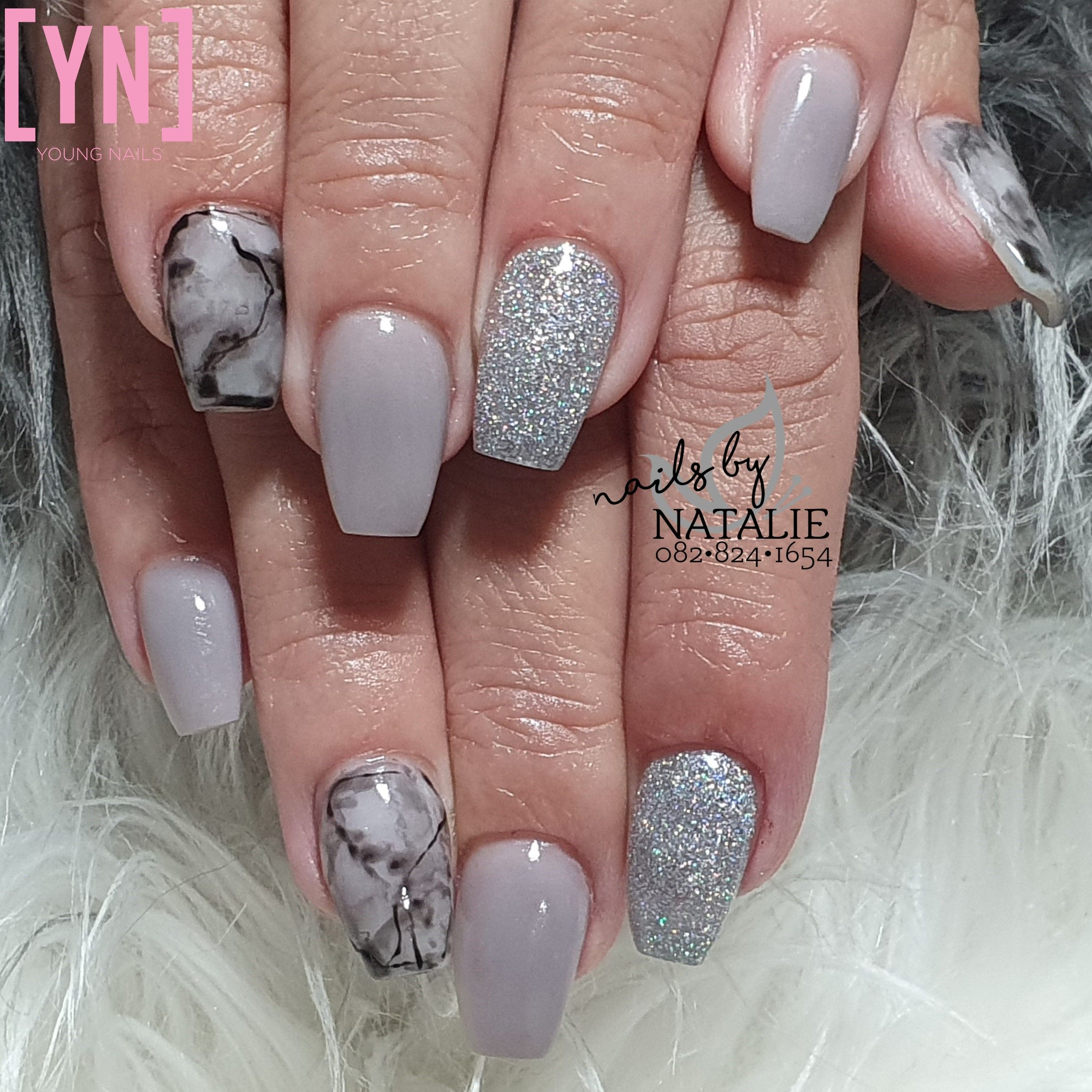 Young Nails Light Grey Acrylic Silver Glitter Black Marble In 2020 Overlay Nails Marble Acrylic Nails Acrylic Nail Art