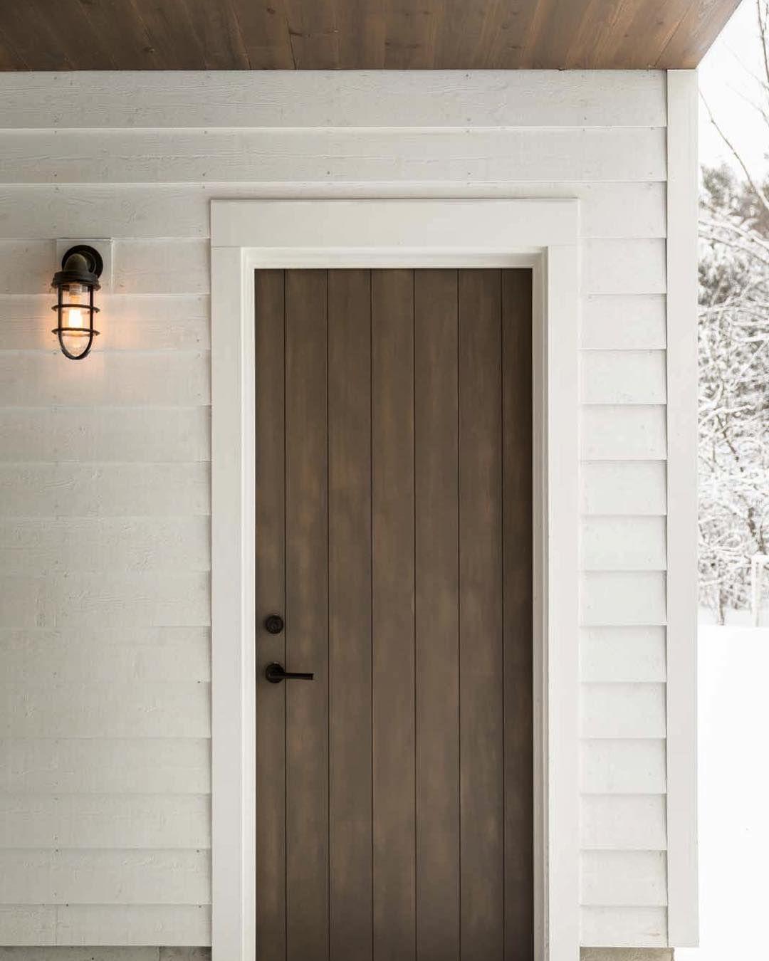 M A I N E H O M E D E S I G N On Instagram A Custom Built Stained Pine Door By Benjaminandcompany Leads To The Garage The Cei Pine Doors Doors Custom Build