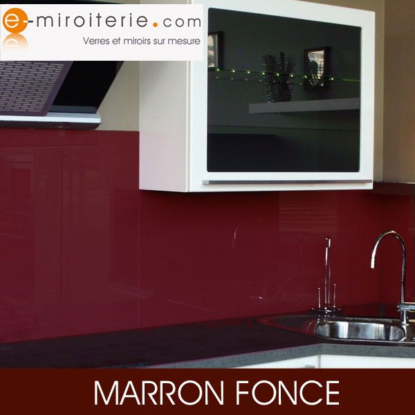 cr dence de cuisine en verre laque sur mesure marron fonc cr dences cuisine en verre sur. Black Bedroom Furniture Sets. Home Design Ideas