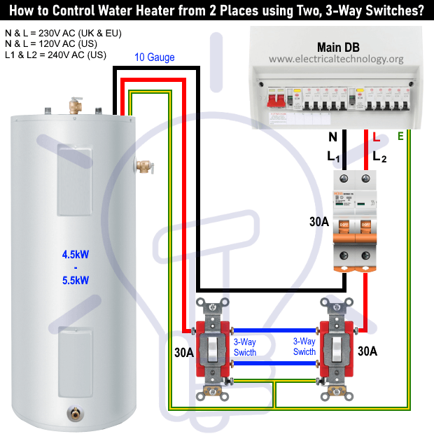 How To Control Water Heater Using 1 2 3 4 Way Switches Three Way Switch Safety Switch