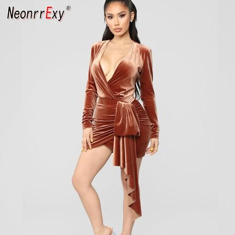 741bd4cc408 Long Sleeve Velvet Belt Bow Bodycon Mini Dress SE – deevybuy