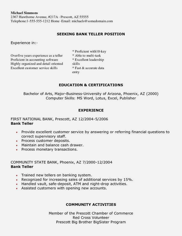 Bank teller resume no experience new resume bank in 2020
