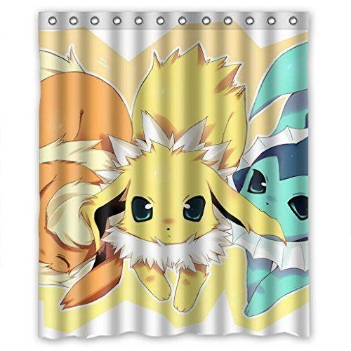 Anime Cartoon Pokemon Shower Curtain Measure 60wx72h