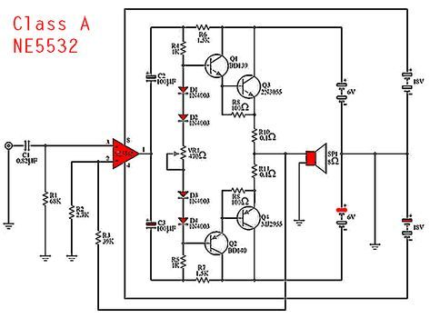 ne5532 class a power amplifier in 2019 audione5532 class a power amplifier circuit diagram