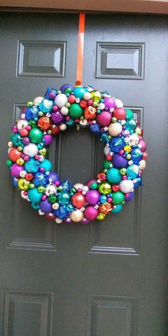 Beautiful Rainbow Christmas Ornament Wreath! Loaded with tons of colors and finishes! Holiday Wreath! Bauble Wreath! Customizable!