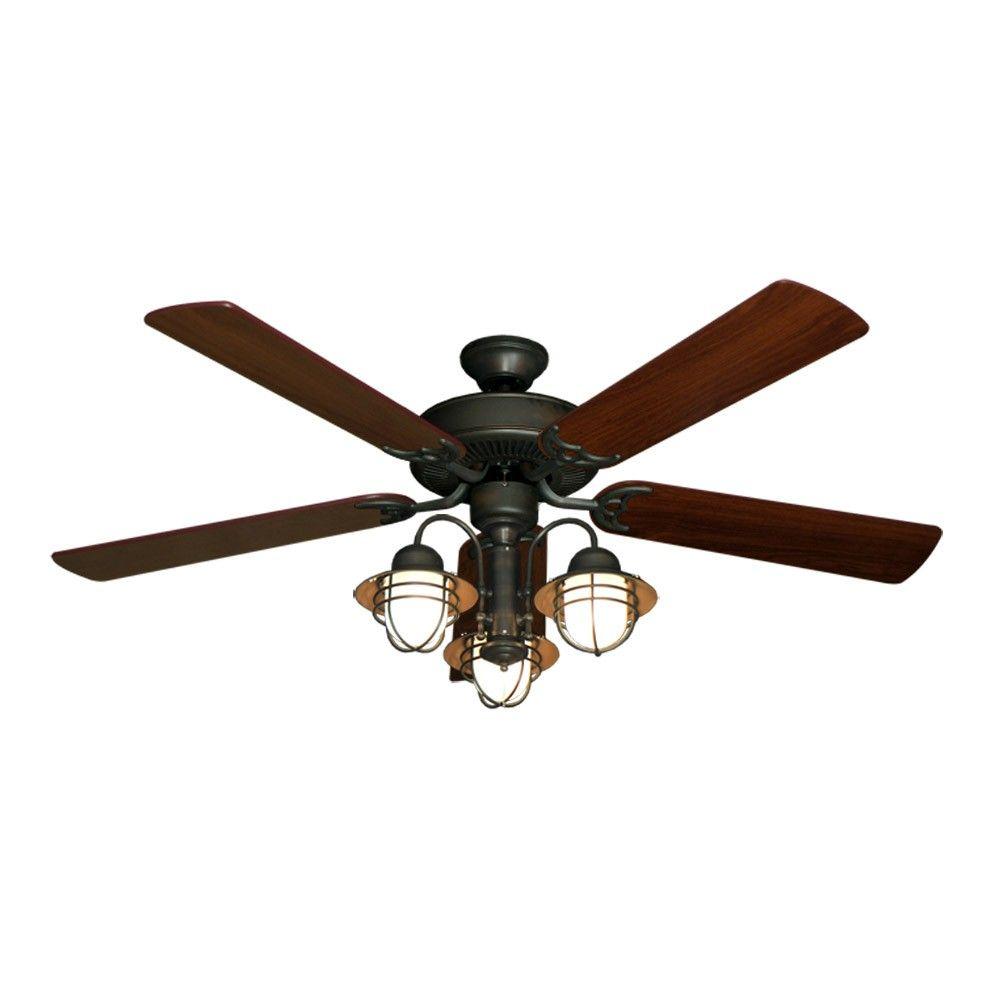 52 nautical ceiling fan with light oil rubbed bronze unique rh pinterest com