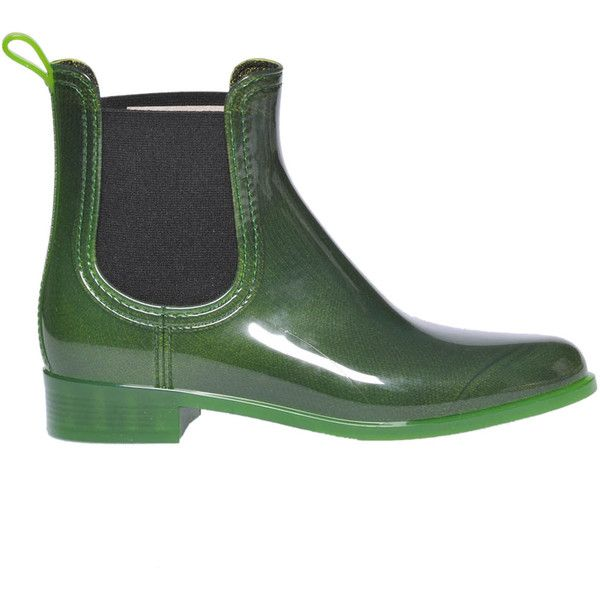Jeffrey Campbell Forecast Rubber Ankle-Boots (195 BRL) ❤ liked on Polyvore featuring shoes, boots, ankle booties, rounded toe boots, jeffrey campbell ankle booties, rubber ankle boots, rubber boots and short rubber boots