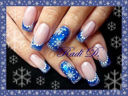 Blue Christmas nail design