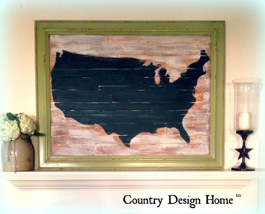 Rustic Chalkboard USA Map-DIY!