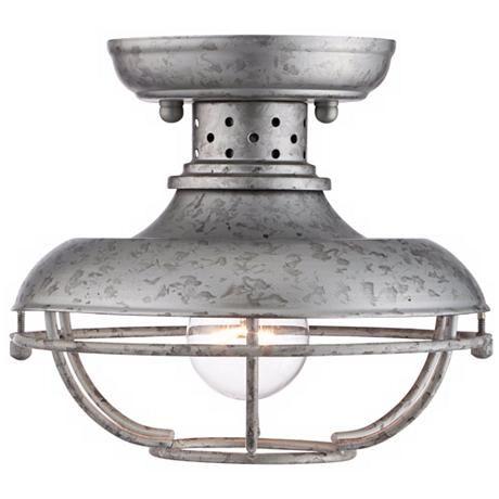 Franklin Park 8 1 2 Wide Galvanized Outdoor Ceiling Light 4f505 Lamps Plus Outdoor Ceiling Lights Ceiling Lights Galvanized Light