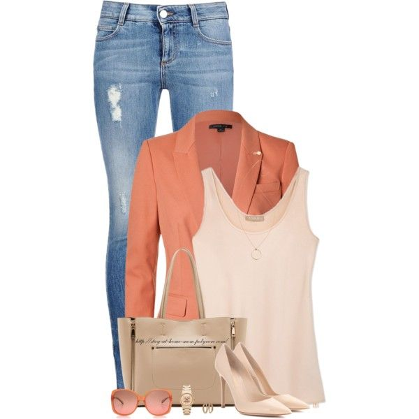 Tangerine Blazer & Nude Pumps by stay-at-home-mom on Polyvore featuring Michael Kors, Rachel Zoe, STELLA McCARTNEY, Gianvito Rossi, Sole Society, Kenzo, Ginette NY, M Missoni, tanktop and skinnyjeans