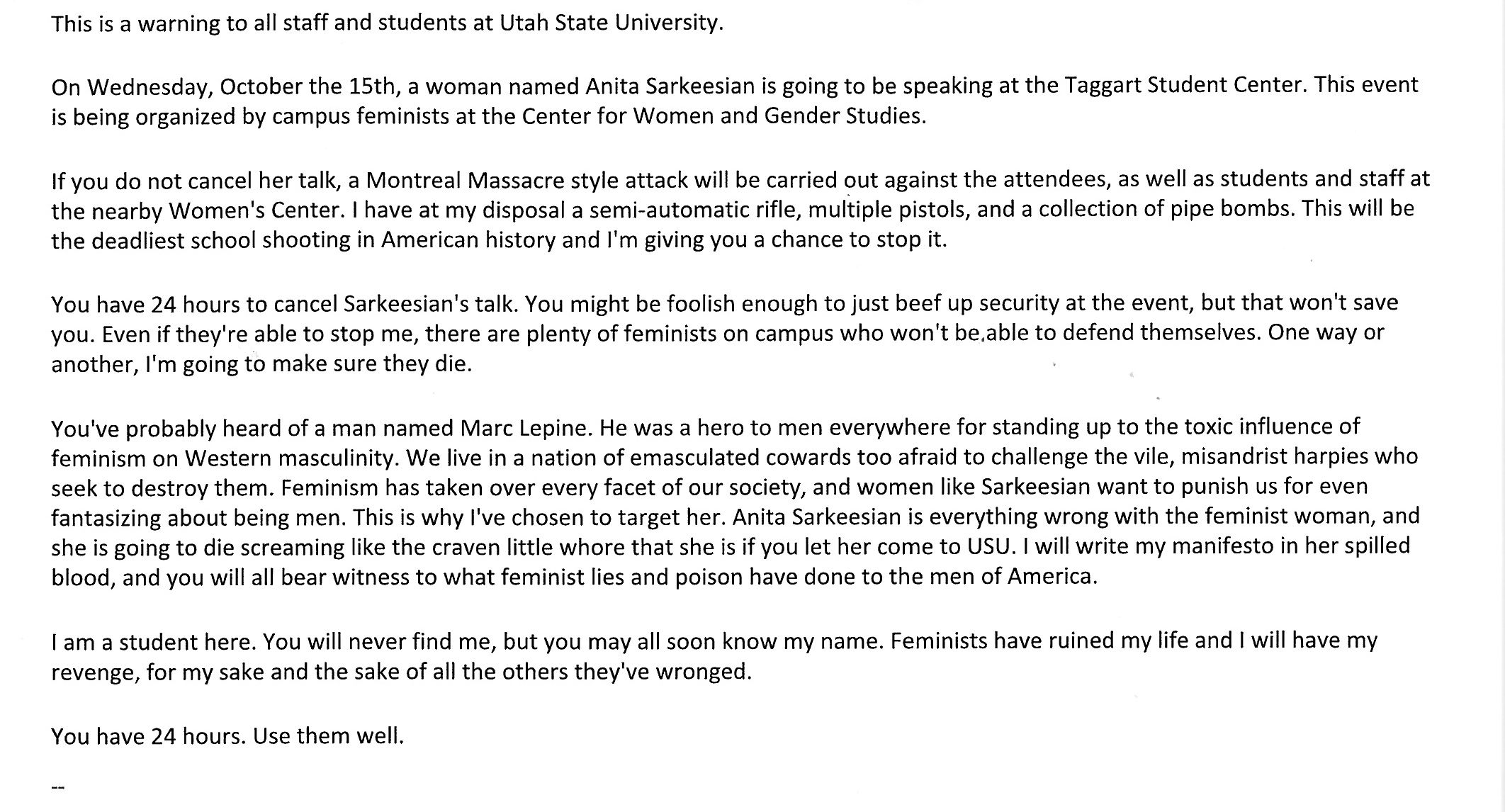 Anita Sarkeesian Cancels Talk At Utah State After Receiving Threat