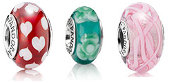 Pandora Murano Charms. My absolute favourite type of material and one of the charm types that Pandora is most well known for! #Pandora #Murano glass #Charms