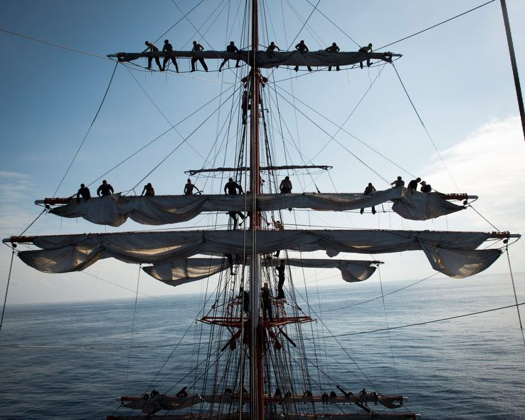 Cadets managing the sails of the Sedov.  (Colin Delfosse)