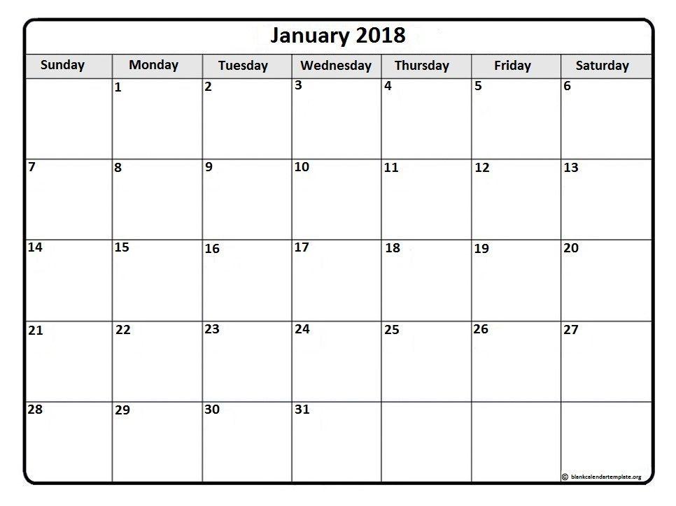 January 2018 Calendar With Tithi January 2018 Calendar With