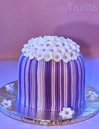 Purple Striped Mini Cake