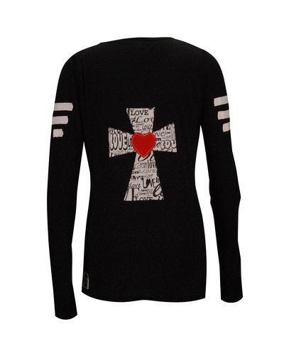 Cross Love Heart Black Long Sleeve Fitted V-Neck T Shirt